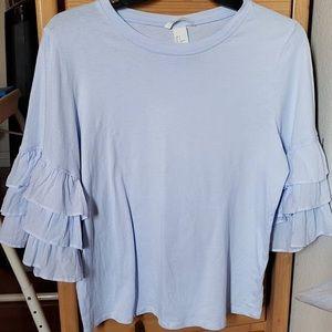 H&M Dusty Blue Ruffle Flounce Sleeve Top